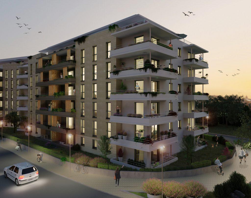 Render edificio en exterior con paisaje de noche
