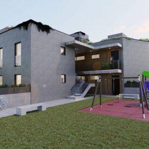 Render de edificio exterior con parque infantil