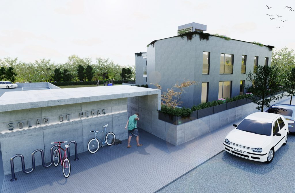 Render de edificio exterior con bicis y parking