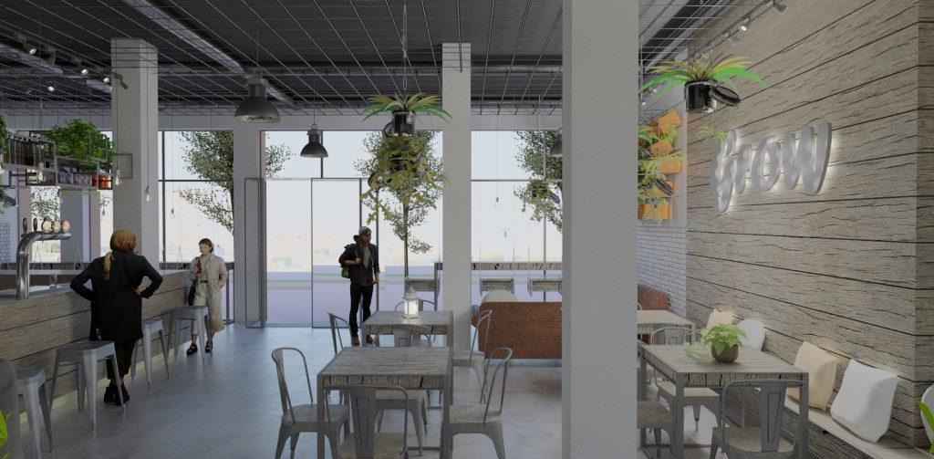 Render interior de restaurante con mesas y plantas