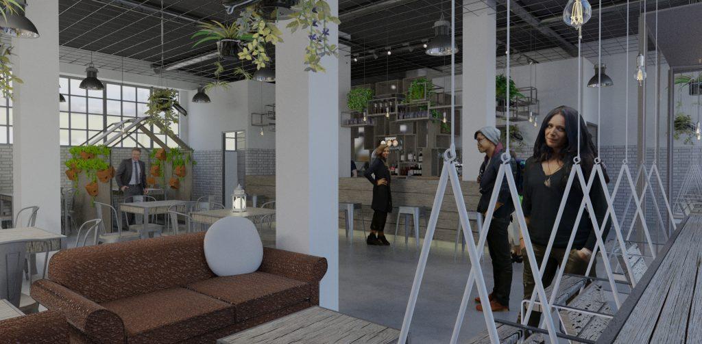 Render interior de restaurante con columpio y plantas