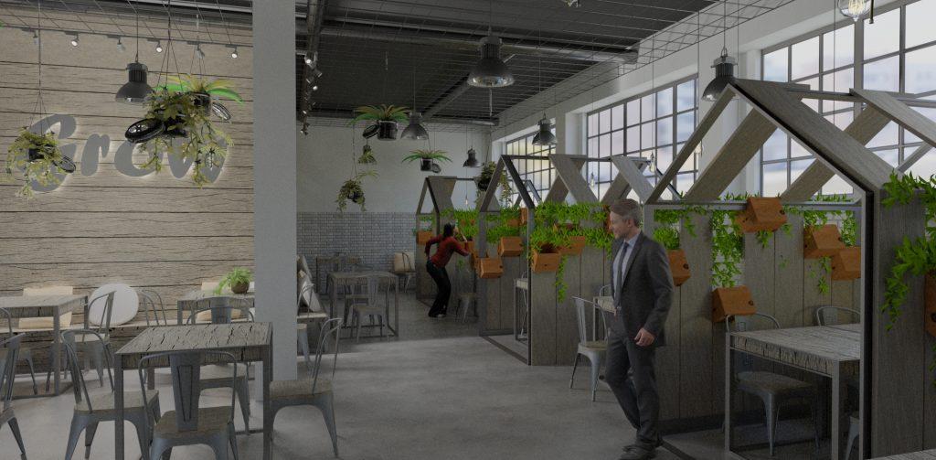 Render interior de restaurante con casetas y plantas