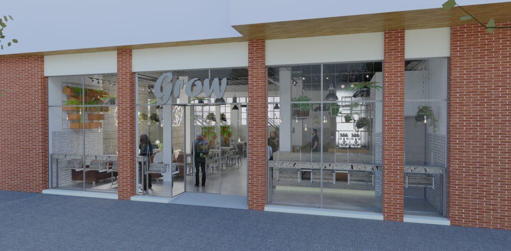 Render exterior de un restaurante de diseño