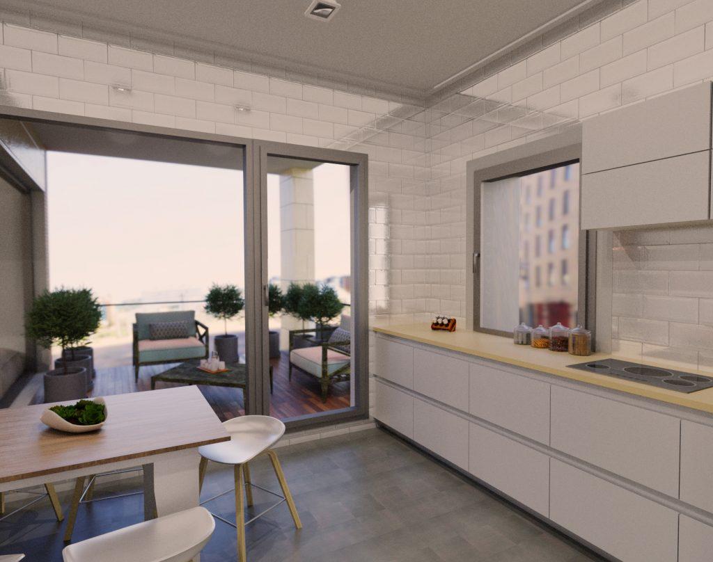 Render de una cocina blanca en piso con terraza