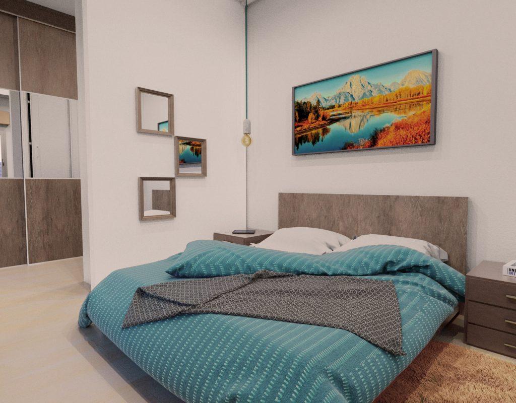 Render de un dormitorio matrimonio azul
