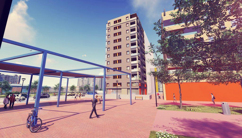 Render exterior de un edificio con paisaje
