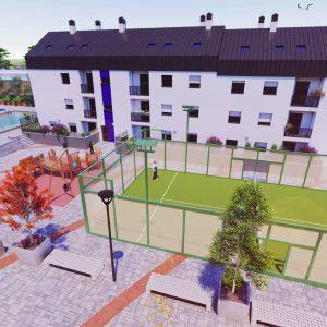 Render urbanizacion con pista de padel y piscina