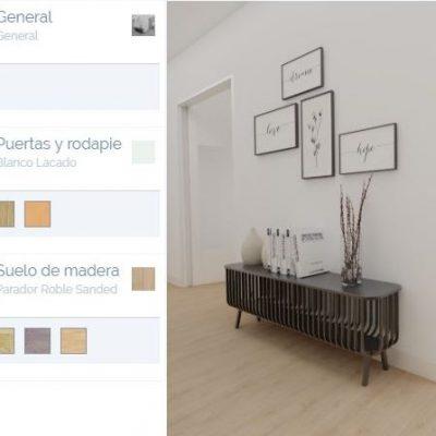 Puedes cambiar los materiales del piso con un click.