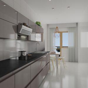 Cocina gris minimalista con comedor